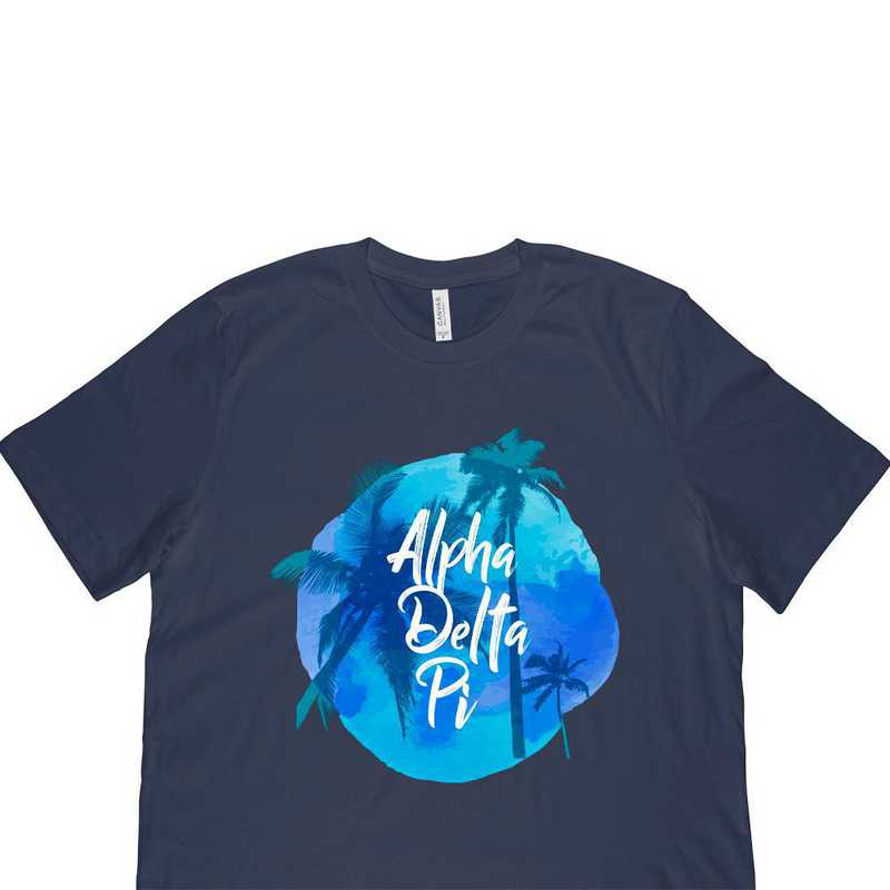 Alpha Delta Pi Tropical Palm Tree Sunset-Blue