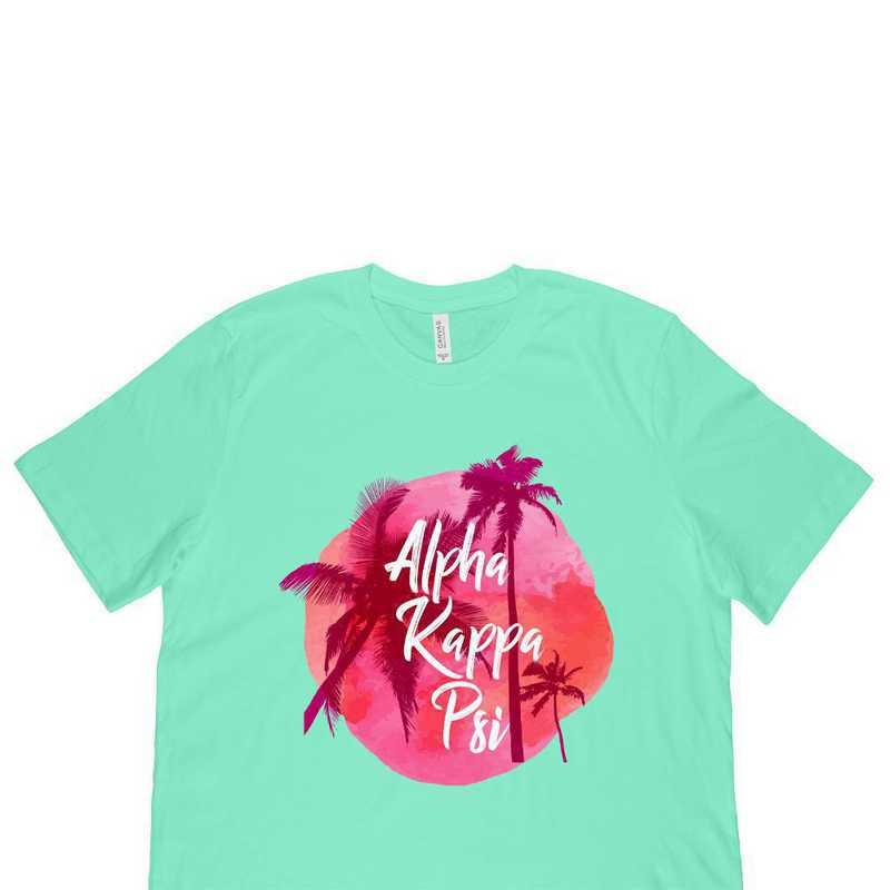 Alpha Kappa Psi Tropical Palm Tree Sunset Green