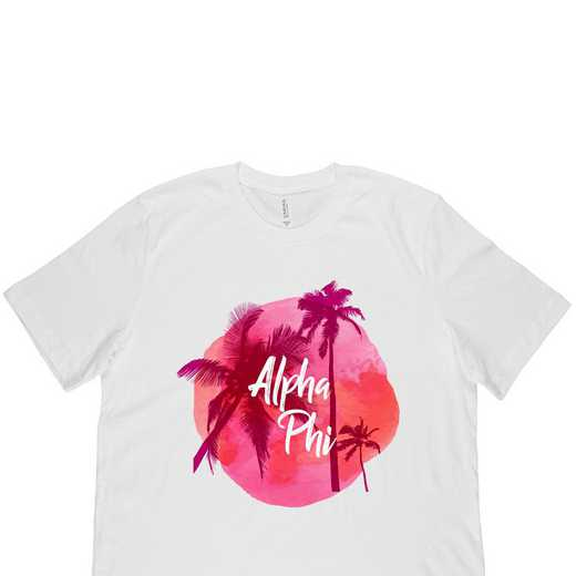 Alpha Phi Tropical Palm Tree Sunset White