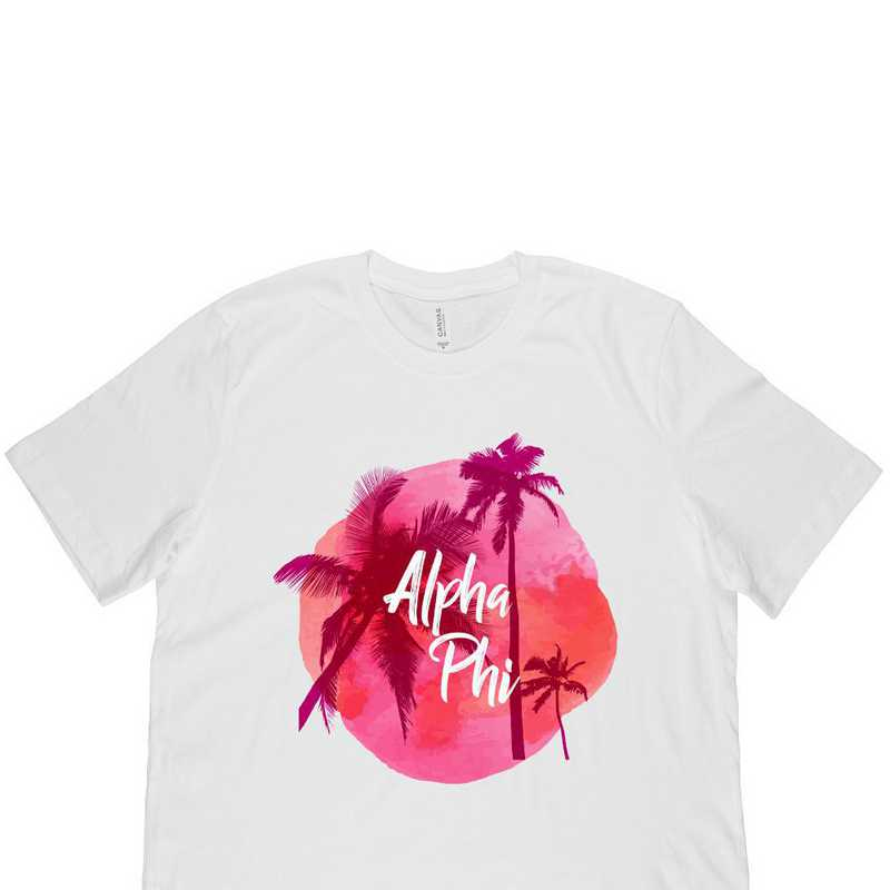 Alpha Phi Tropical Palm Tree Sunset White