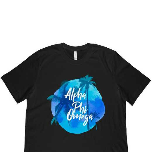 Alpha Phi Omega Tropical Palm Tree Sunset-Black