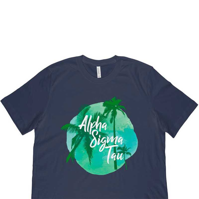 Alpha Sigma Tau Tropical Palm Tree Sunset-Navy