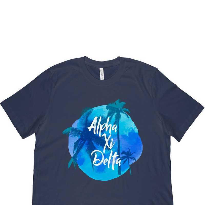 Alpha Xi Delta Tropical Palm Tree Sunset-Navy