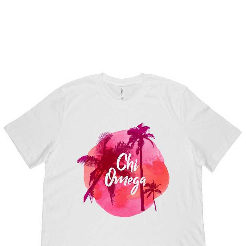 Chi Omega Tropical Palm Tree Sunset-White