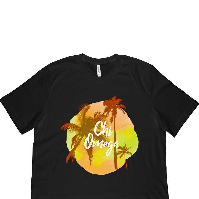 Chi Omega Tropical Palm Tree Sunset Black