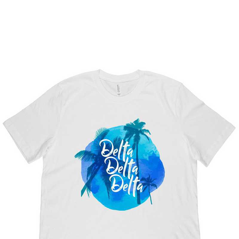 Delta Delta Delta Tropical Palm Tree Sunset-White