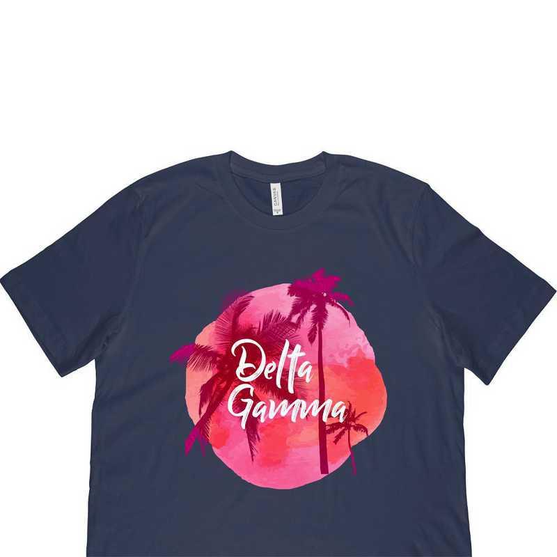 Delta Gamma Tropical Palm Tree Sunset-Navy
