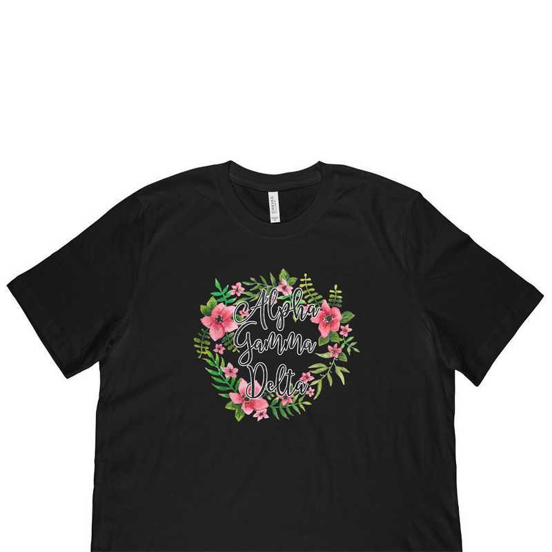 Alpha Gamma Delta Floral Wreath T-Shirt Black