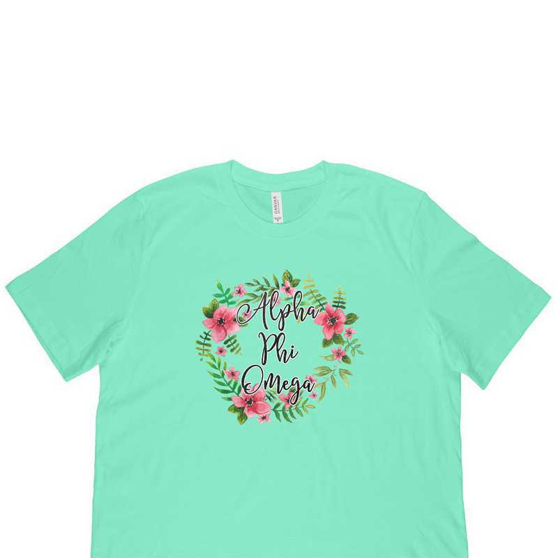 Alpha Phi Omega Floral Wreath T-Shirt Lime Green