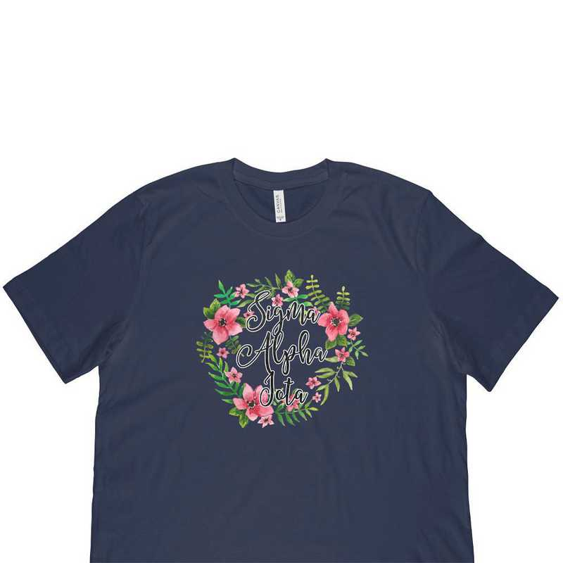 Sigma Alpha Iota Floral Wreath T-Shirt-Blue