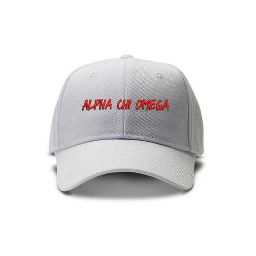 achioav4: Alpha Chi Omega Casual Block Baseball Cap-Wht/Red