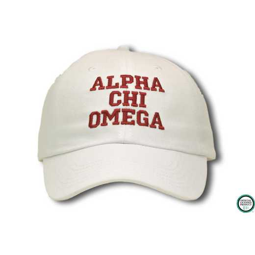 achiocs1: Alpha Chi Omega Athletic Baseball Cap-Ivory/Red