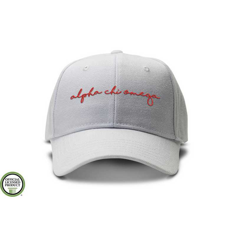 achiohw1: Alpha Chi Omega Handwriting Script Baseball Cap- Wht/Red