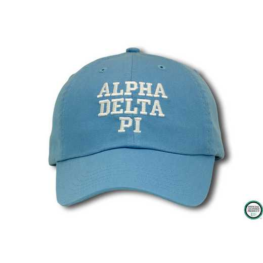 adpics1: Alpha Delta Pi Athletic Baseball Cap- Lt.Blue/Wht