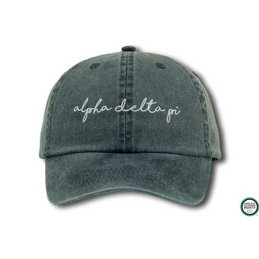 adpihw4: Alpha Delta Pi Handwriting Script Baseball Cap-Denim/Wht