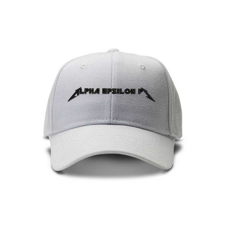 aepihvm1: Alpha Epsilon Pi Heavy Metal Baseball Cap-White/Blk
