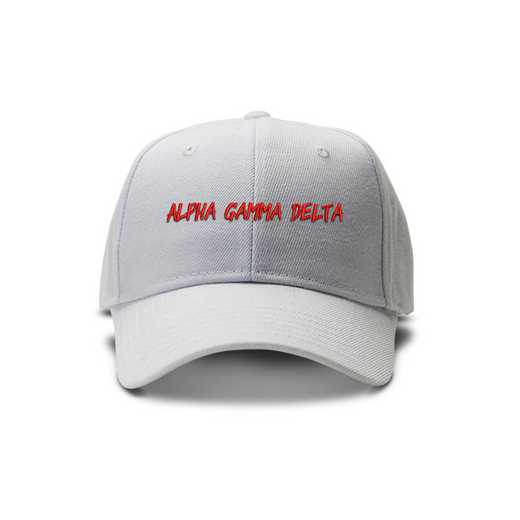 agdav1: Alpha Gamma Delta Casual Block Baseball Cap- White/Red