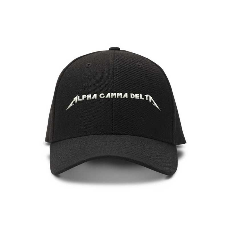 agdhvm1: Alpha Gamma Delta Heavy Metal Baseball Cap- Black/White