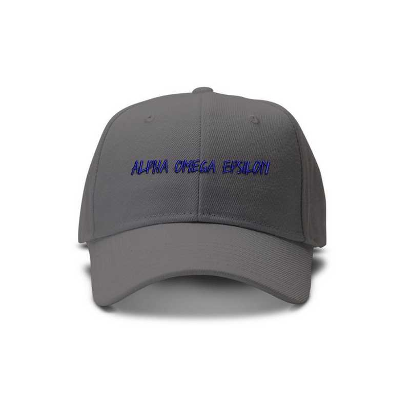 aoeav2: Alpha Omega Epsilon Casual Block Baseball Cap-Gray/Blue