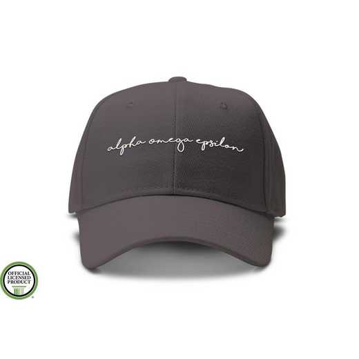 aoehw2: Alpha Omega Epsilon Handwriting Script Baseball Cap Gray/Wht