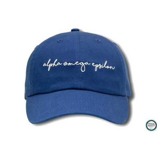 aoehw3: Alpha Omega Epsilon Handwriting Script Baseball Cap Blue/Wht