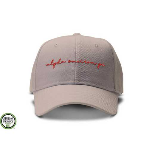 aophw3: Alpha Omicron Pi Handwriting Script Baseball Cap-Tan/Red