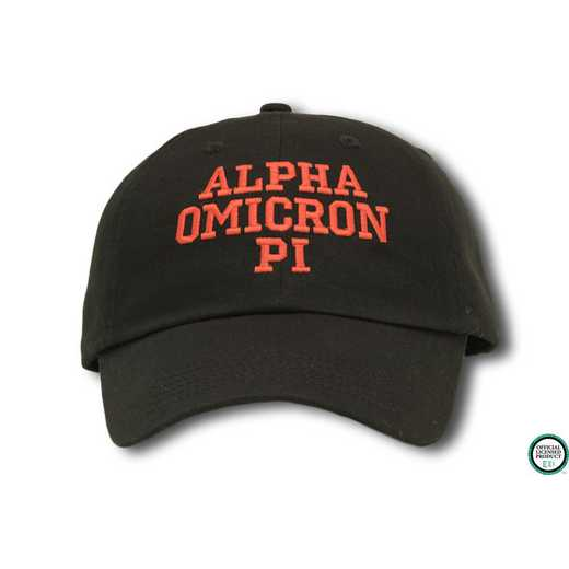 aopics1: Alpha Omicron Pi Athletic Baseball Cap- Black/Red