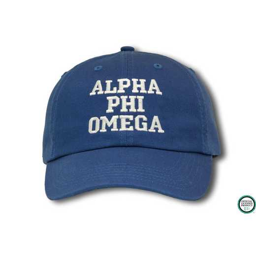 aphiocs1: Alpha Phi Omega Athletic Baseball Cap - Blue/White