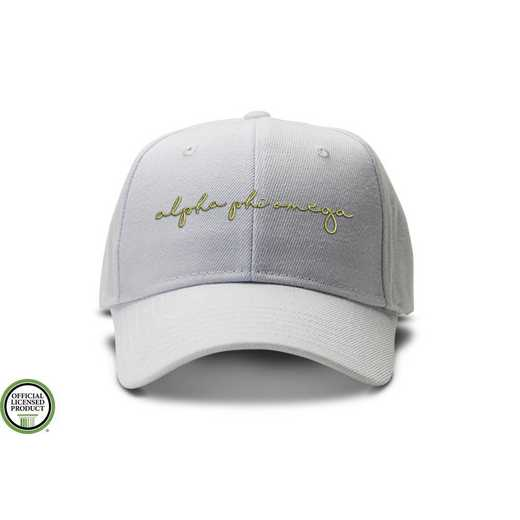 aphiohw1: Alpha Phi Omega Handwriting Script Baseball Cap-white/Gold