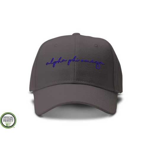 aphiohw2: Alpha Phi Omega Handwriting Script Baseball Cap-Gray/Blue