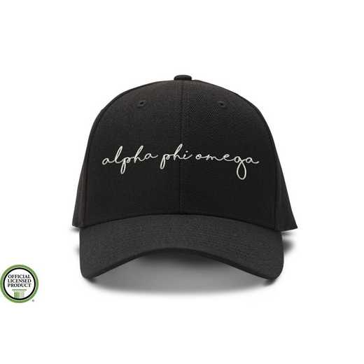 aphiohw3: Alpha Phi Omega Handwriting Script Baseball Cap-Black/White
