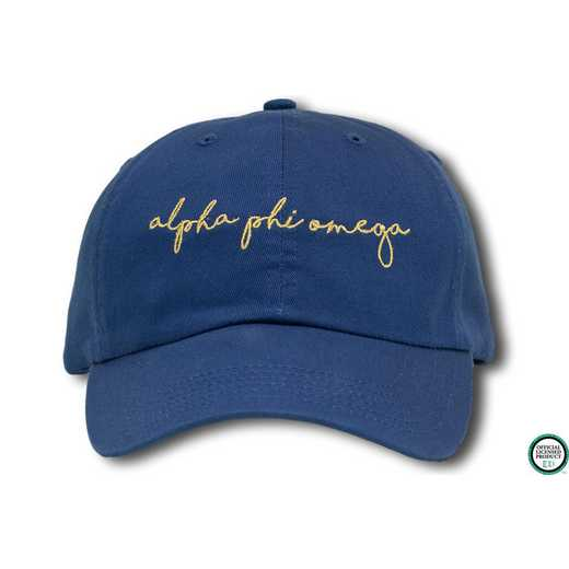 aphiohw4: Alpha Phi Omega Handwriting Script Baseball Cap-Blue/Yellow