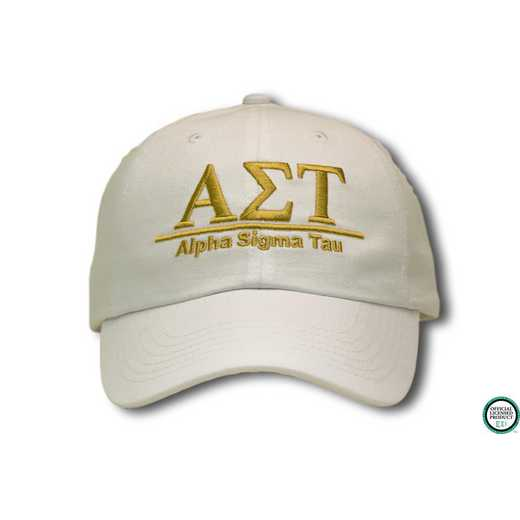 ast1l1: Alpha Sigma Tau Line Design Baseball Cap-Natural /Gold