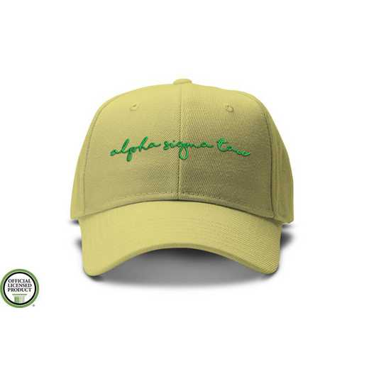 asthw2: Alpha Sigma Tau Handwriting Script Baseball Cap-Yellow/Grn