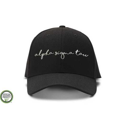 asthw3: Alpha Sigma Tau Handwriting Script Baseball Cap-Black/White