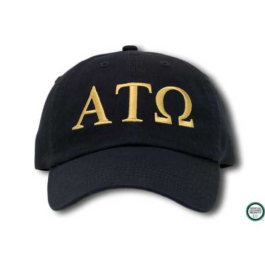 atogo1: Alpha Tau Omega Greek Letter Baseball Cap- Black/Gold