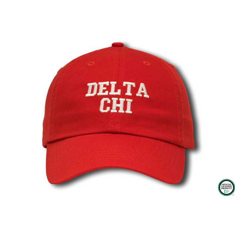 dchics1: Delta Chi Athletic Baseball Cap-Red/White