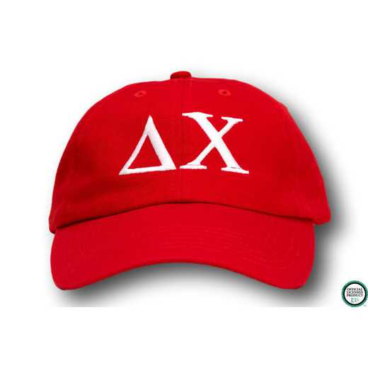 dchigo1: Delta Chi Greek Letter Baseball Cap-Red/White