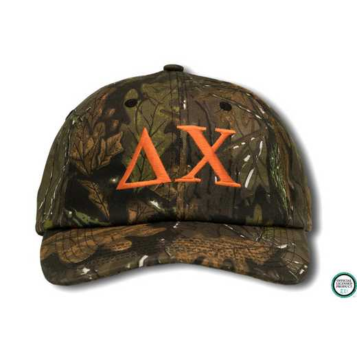 dchigo2: Delta Chi Greek Letter Baseball Cap-Camo/Orange