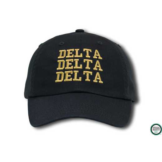 dddcs1: Delta Delta Delta Athletic Baseball Cap-Navy Blue/Yellow