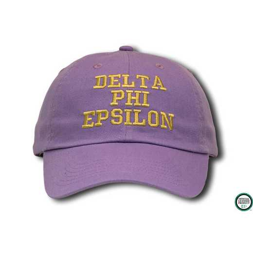 dphiecs1: Delta Phi Epsilon Athletic Baseball Cap-Gray/Yellow