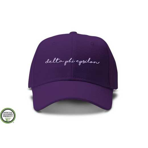 dphiehw1: Delta Phi Epsilon Handwriting Script Baseball Cap-Purple/Wht