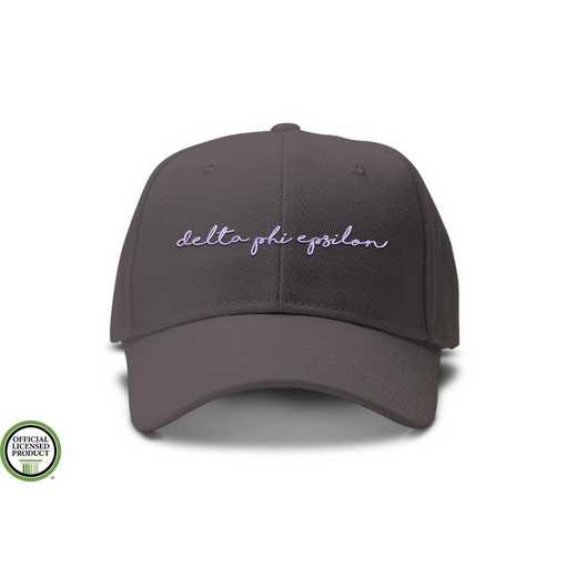 dphiehw2: Delta Phi Epsilon Handwriting Script Baseball Cap-Gray/White