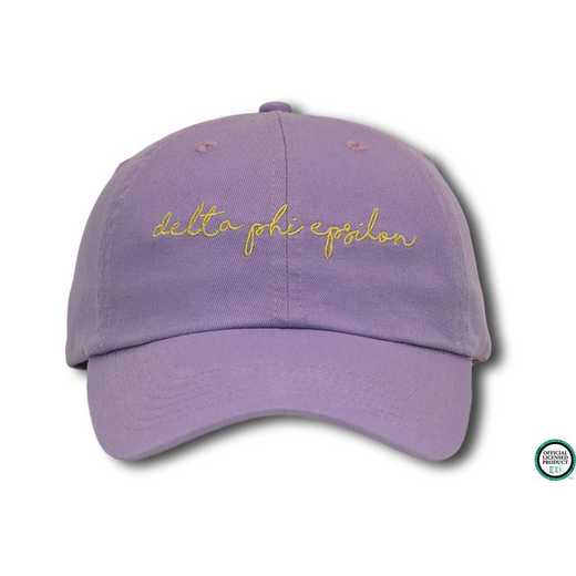 dphiehw3: Delta Phi Epsilon Handwriting Script Baseball Cap-Gray/Yelow