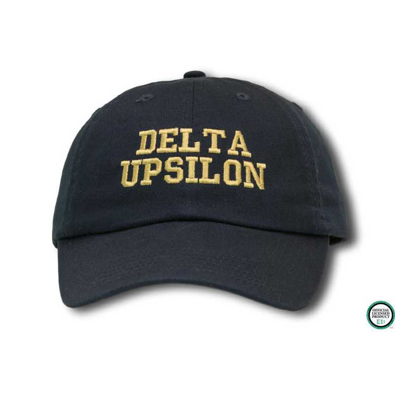 ducs1: Delta Upsilon Athletic Baseball Cap-Black/Yellow
