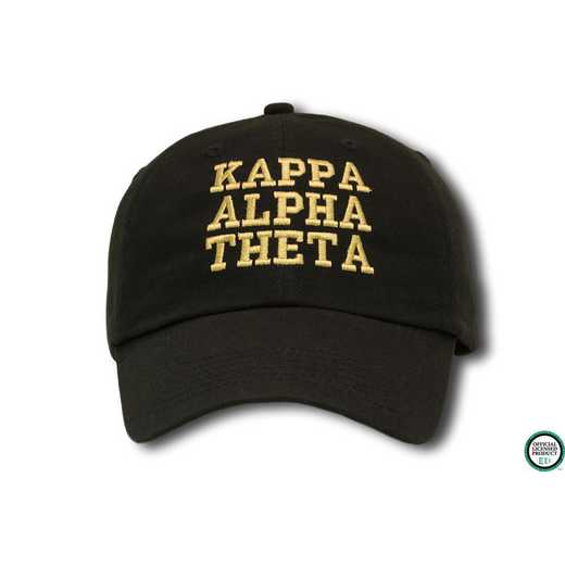 katcs1: Kappa Alpha Theta Athletic Baseball Cap-Black/Yellow