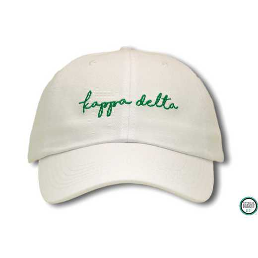 kdhw1: Kappa Delta Handwriting Script Baseball Cap-White/Green