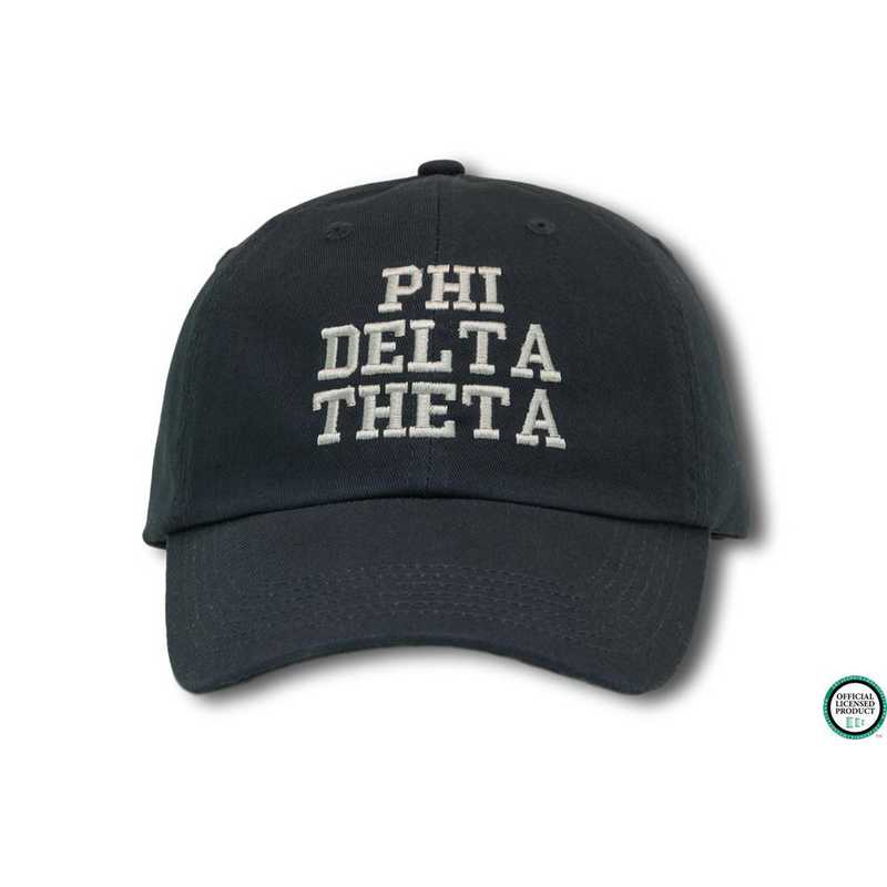 phidtcs1: Phi Delta Theta Athletic Baseball Cap-Black/White