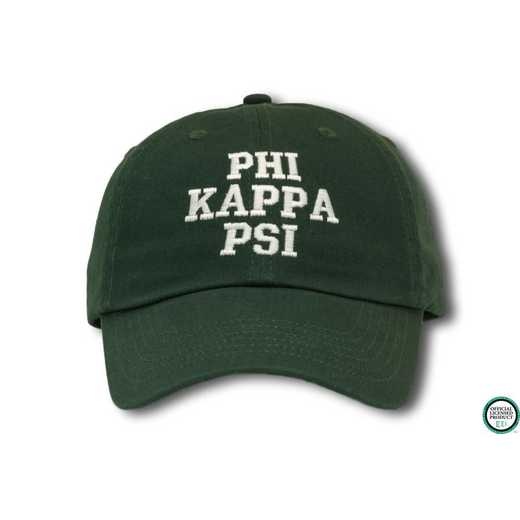 phikpsics1: Phi Kappa Psi Athletic Baseball Cap-Dark Green/White