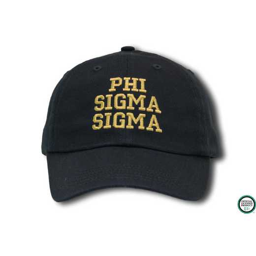 phisscs1: Phi Sigma Sigma Athletic Baseball Cap-Black/Yellow